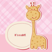 Baby girl shower card with cute giraffe — Stock Vector