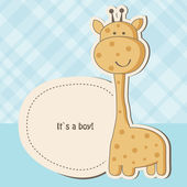 Tarjeta de ducha de niño bebé con linda jirafa — Vector de stock