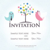 Pozvánka na svatbu s dvěma roztomilé ptáky v ženich a nevěsta kostýmy — Stock vektor