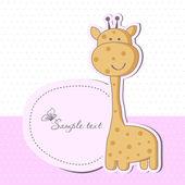 与可爱的长颈鹿宝宝女孩洗澡卡 — 图库矢量图片