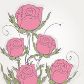 Pink roses, vintage floral background — Stock Vector