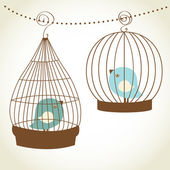 Vintage card with two cute birds in retro cages — Stok Vektör