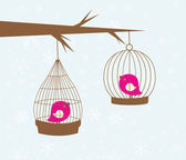 Vintage card with two cute birds in retro cages — Vecteur