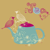 Birds couple on the teapot, hand drawn vector illustration — Stock Vector