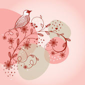 Vintage seamless background with bird and flowers — Stock Vector
