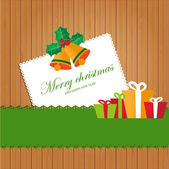 Greeting christmas card with present box from snowballs with bow. — Stock Vector