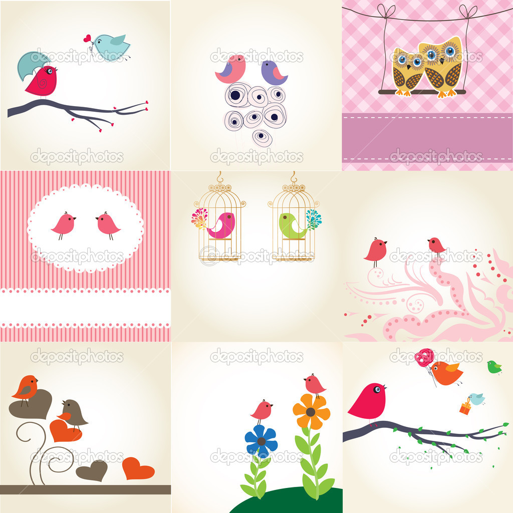 Set two cute birds on the love date. Cute valentine`s card with birds — Stock Vector #8685663