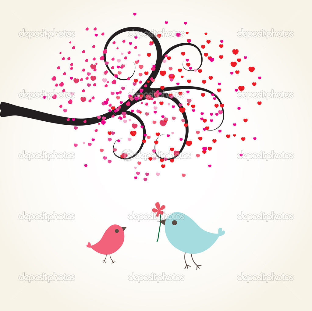 Two cute birds on the love date. Cute valentine`s card with birds  Stock Vector #8685669