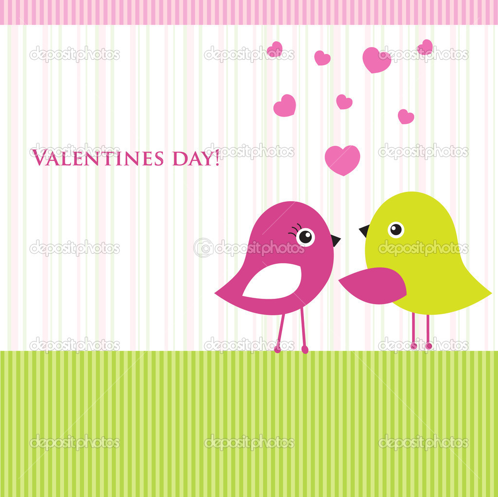 Two cute birds on the love date. Cute valentine`s card with birds — Stock Vector #8685673