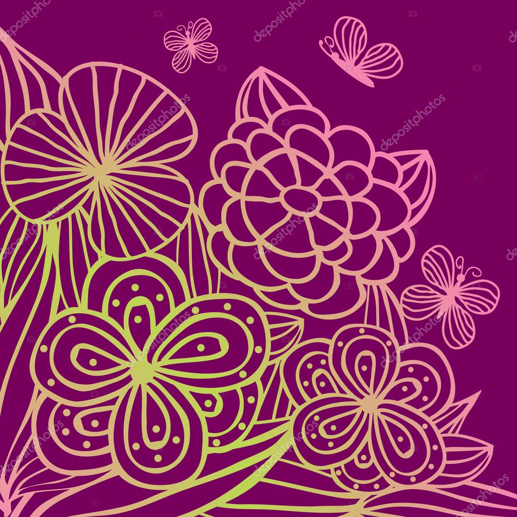 Cute multicolored flowers. Vector valentines card. — Stock Vector #8685746