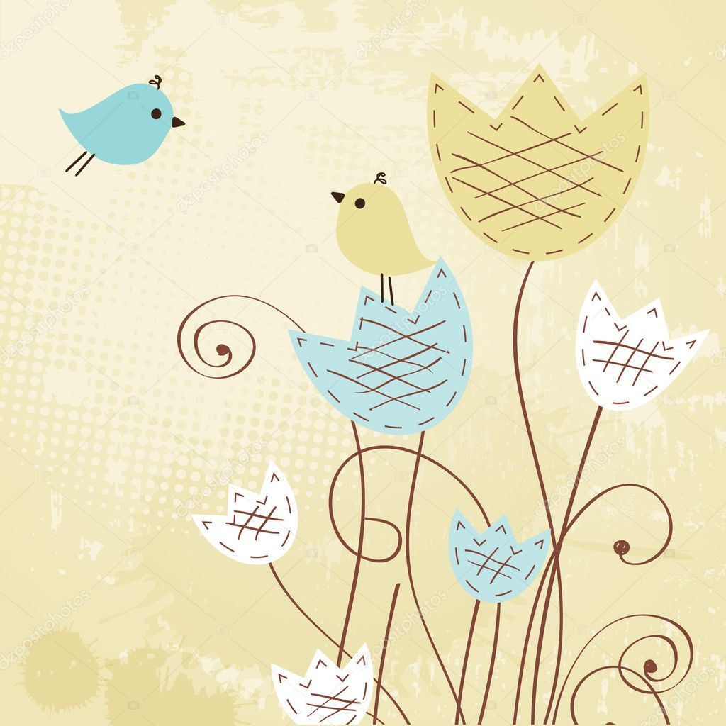 Two cute birds on the love date. Cute valentine`s card with birds — Stock Vector #8685839