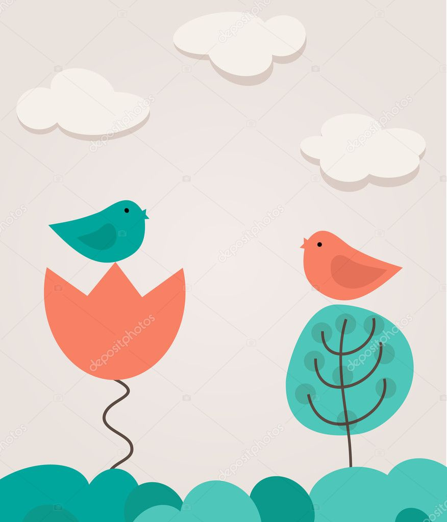 Two cute birds on the love date. Cute valentine`s card with birds — Stock Vector #8685867