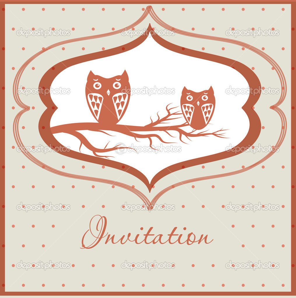 Cute owls couple on the tree   Stock Vector #8686080