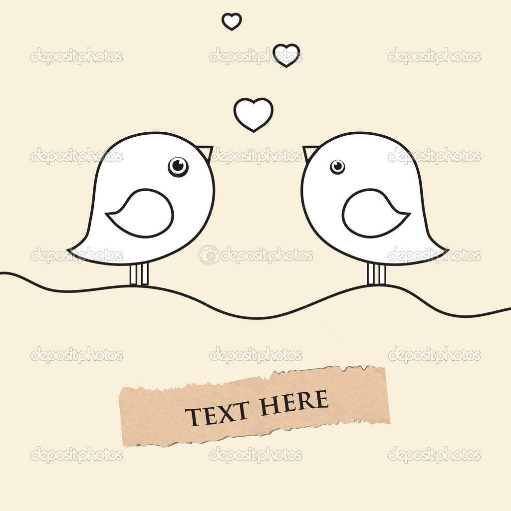 Two cute birds on the love date. Cute valentine`s card with birds — Stock Vector #8686109