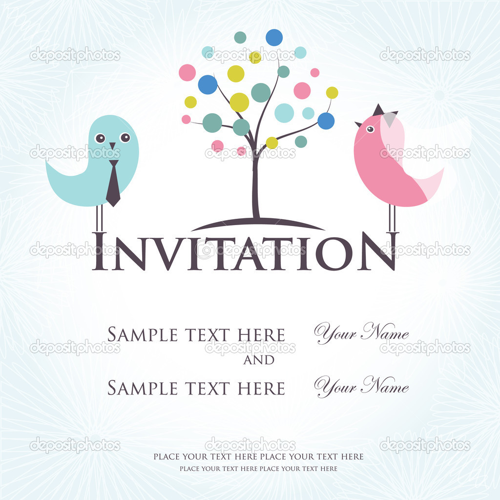 Wedding invitation with two cute birds in bride and groom costumes  — Stock Vector #8686215