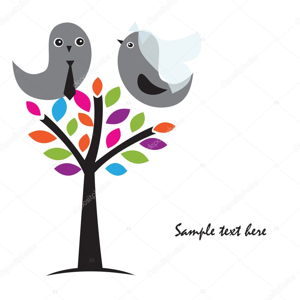 Two cute birds on the love date. Cute valentine`s card with birds  Stock Vector #8686241
