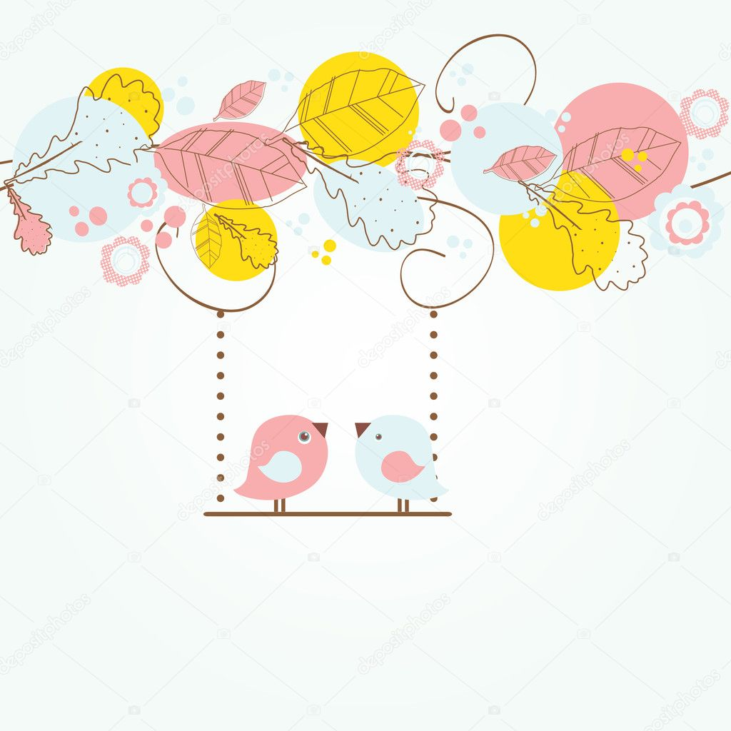 Cute valentine`s card with birds couple  — Stock Vector #8686245