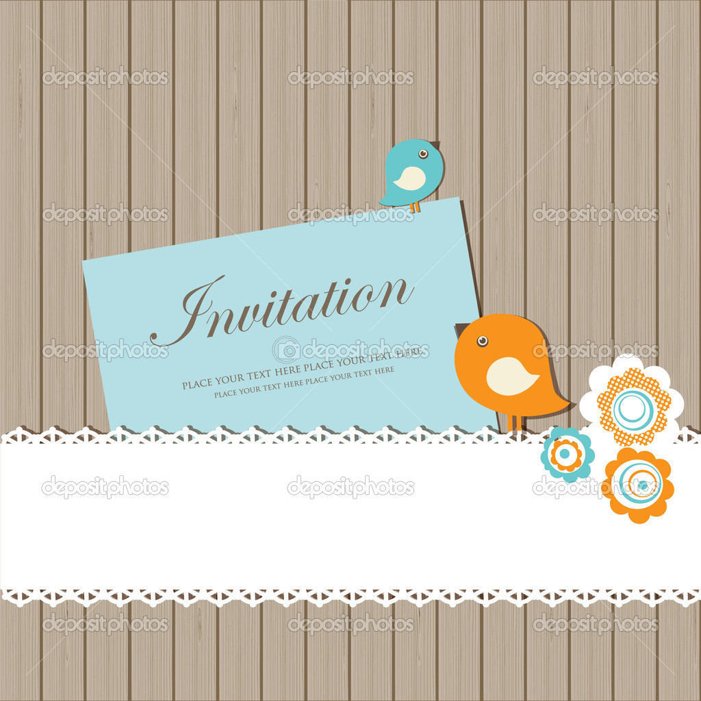 Vintage invitation card with birds, lace and flowers on wooden background  — Stock Vector #8686613