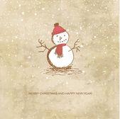 雪だるまかわいいヴィンテージ クリスマス カード — ストックベクタ