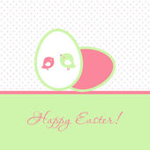 Easter card with two birds and two eggs — Stock Vector