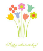 Cute multicolored flowers. Vector valentines card. — Stock Vector