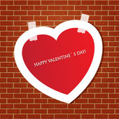 Heart on the brick wall — Stock Vector