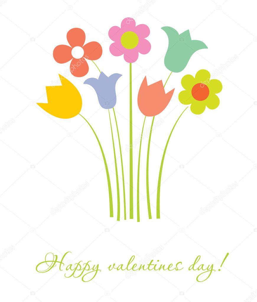 Cute multicolored flowers. Vector valentines card. — Stock Vector #8759867