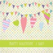 Cute vintage valentine`s card with flags and hearts — Imagen vectorial