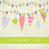 Cute vintage valentine`s card with flags and hearts — Stock Vector
