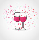 Love drink. Vector illustration with two wine glasses and hearts — Stock Vector
