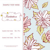 Vintage vector invitation card with floral pattern — Stock Vector