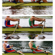 Stock Photo: Rowing athletes in training, collage