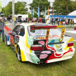 An artistically painted BMW M3 GTR on display at the annual Oldtimer day - Stock Photo