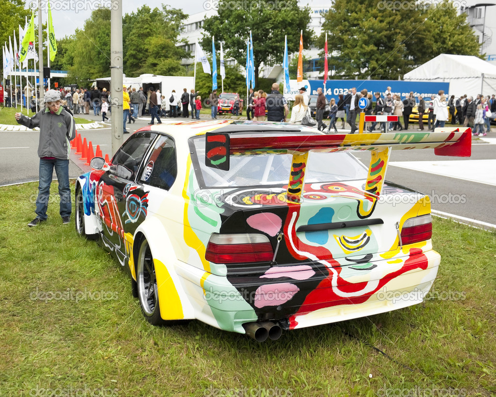 An artistically painted BMW M3 GTR on display at the annual National Oldtimer Day on June 19, 2011 in Lelystad, The Netherlands — Stockfoto #8458165