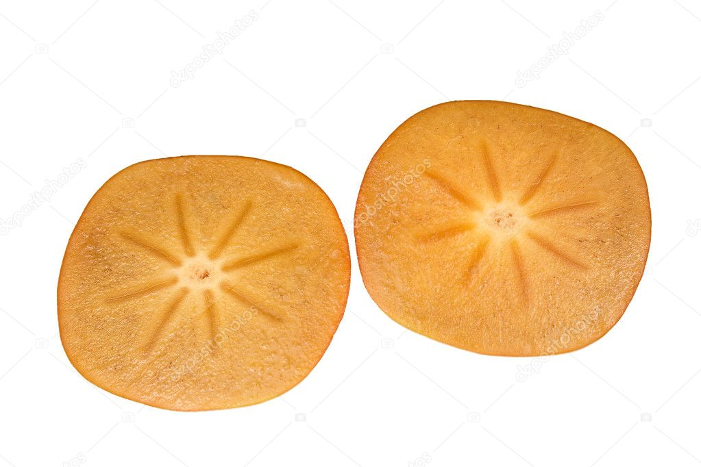 Orange ripe persimmon isolated over white background  — Stock Photo #8183797