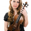 The beautiful girl with a violin - Stock Photo