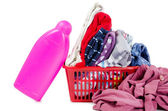 Heap of pure clothes with different detergent — Stock Photo