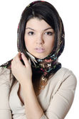 Het mooie meisje in een sjaal, de moslim — Stockfoto