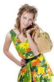La bella ragazza in un estate vestire isolata — Foto Stock