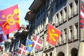 Swiss flag in Berne, Switzerland. Old town street — Stock Photo