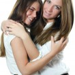 Stock Photo: Two girl-friends isolated on white background