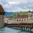 Panoramic view of Chapel Bridge, famous covered wooden bridge. Lucerne Switzerland — Stock Photo #10714779