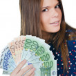 The beautiful girl with euro banknotes — Stock Photo #10715091