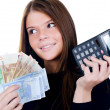 The beautiful girl with euro banknotes — Stock Photo #10715103
