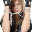 The beautiful girl in a leather jacket with a chain — Stock Photo #8055768