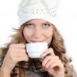 Beautiful girl with a coffee cup — Stock Photo