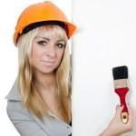 Beautiful girl in a building helmet — Stock Photo #8056002