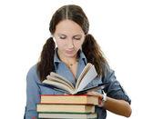 La bella ragazza con i libri isolato su bianco — Foto Stock