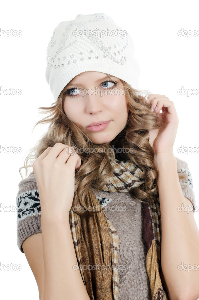 Beautiful girl in mittens isolated on  white — Stock Photo #8055952