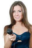 Girl with a microphone isolated — Stock Photo